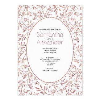 Rose gold glitter pattern of leaves trendy wedding card