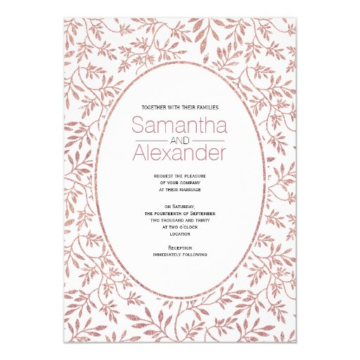 Rose gold glitter pattern of leaves trendy wedding card