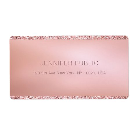 Rose Gold Glitter Personalized Template Shipping Label