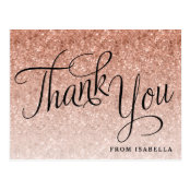 Rose Gold Glitter Personalized Thank you Postcard