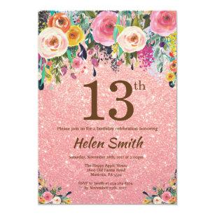 Rose Gold Glitter Pink Floral 13th Birthday Invitation