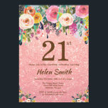 "Rose Gold Glitter Pink Floral 21st Birthday Invitation<br><div class=""desc"">Rose Gold Glitter Pink Floral 21st Birthday Invitation for Women. Watercolor Floral Flower. Rose Gold Pink Glitter Background. Pink, Yellow, Orange, Purple Flower. Adult Birthday. 13th 15th 16th 18th 20th 21st 30th 40th 50th 60th 70th 80th 90th 100th, Any Ages. For further customization, please click the ""Customize it"" button and...</div>"
