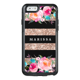 Rose Gold Glitter Pink Floral Black Stripe OtterBox iPhone 6/6s Case