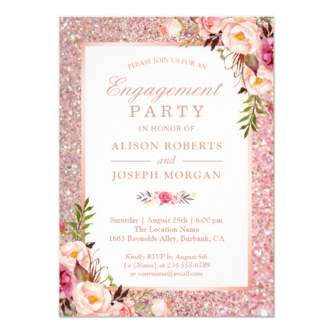 Rose Gold Glitter Pink Floral Engagement Party Invitation