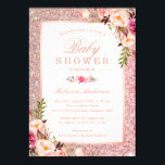 "Rose Gold Glitter Pink Floral Girl Baby Shower Invitation<br><div class=""desc"">Rose Gold Glitter Pink Floral Girl Baby Shower Invitation. 
