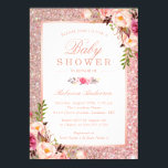 "Rose Gold Glitter Pink Floral Girl Baby Shower Invitation<br><div class=""desc"">Rose Gold Glitter Pink Floral Girl Baby Shower Invitation.  (1) For further customization,  please click the &quot;customize further&quot; link and use our design tool to modify this template.  (2) If you need help or matching items,  please contact me.</div>"