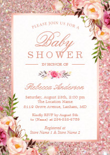 Rose Gold Glitter Pink Fl Baby Shower Invitation