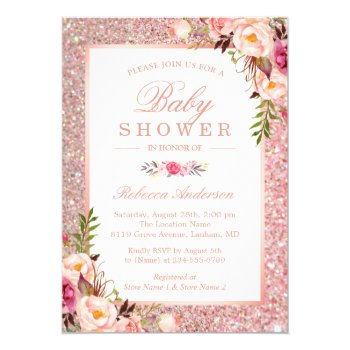 Browse products at zazzle with the theme roses baby gifts 5 rose gold glitter pink floral girl baby shower invitation filmwisefo