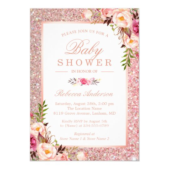 Rose Gold Glitter Pink Floral Girl Baby Shower Invitation Zazzle Com