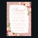 "Rose Gold Glitter Pink Floral Sweet 16 Birthday Invitation<br><div class=""desc"">Girly Rose Gold Glitter Pink Floral Sweet 16 Birthday Party Invitation. (1) For further customization, please click the ""Customize Further"" Link and use our design tool to modify this template. All text style, colors, sizes can be modified to fit your needs. (2) Note that it's not real gold glitter --...</div>"