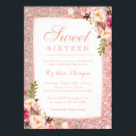 """Rose Gold Glitter Pink Floral Sweet 16 Birthday Invitation<br><div class=""""desc"""">Girly Rose Gold Glitter Pink Floral Sweet 16 Birthday Party Invitation. (1) For further customization, please click the """"Customize Further"""" Link and use our design tool to modify this template. All text style, colors, sizes can be modified to fit your needs. (2) Note that it"""