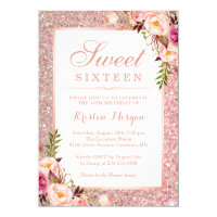 Rose Gold Glitter Pink Floral Sweet 16 Birthday Invitation