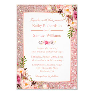 Pink And Gold Wedding Invitations Zazzle
