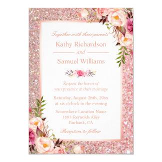 Rose Gold Glitter Pink Floral Wedding Invitation