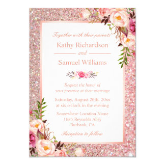 Rose Gold Glitter Pink Floral Wedding Invitation
