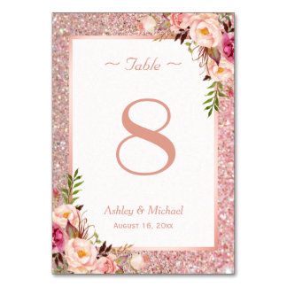 Rose Gold Glitter Pink Floral Wedding Table Number