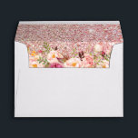 """Rose Gold Glitter Pink Floral with Return Address Envelope<br><div class=""""desc"""">Rose Gold Glitter Pink Floral with Return Address for 5x7 Card Envelope.  (1) For further customization,  please click the &quot;customize further&quot; link and use our design tool to modify this template.  (2) If you need help or matching items,  please contact me.</div>"""