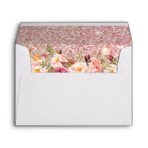 Rose Gold Glitter Pink Floral with Return Address Envelope