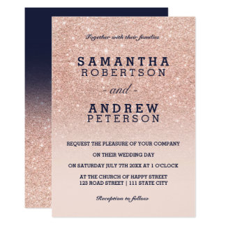Rose gold glitter pink navy blue ombre wedding invitation