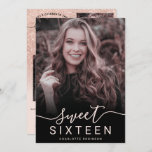 """Rose gold glitter pink ombre 5 photos sweet 16 invitation<br><div class=""""desc"""">A modern,  pretty pink rose gold glitter gradient ombre with  soft pastel blush pink Sweet 16 birthday party invitation with 5 of your custom photo with glitter ombre pattern fading onto a pink background and a modern stylish script calligraphy.</div>"""