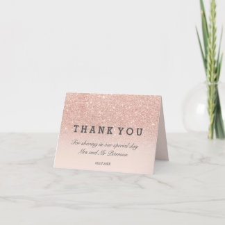 Rose gold glitter pink ombre Thank you wedding Card
