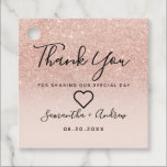 """Rose gold glitter pink ombre thank you wedding favor tags<br><div class=""""desc"""">Rose gold glitter pink ombre thank you wedding with chic fancy faux glitter ombre gradient on customizable blush pink.</div>"""