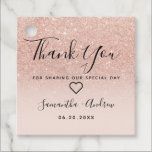 "Rose gold glitter pink ombre thank you wedding favor tags<br><div class=""desc"">Rose gold glitter pink ombre thank you wedding with chic fancy faux glitter ombre gradient on customizable blush pink.</div>"
