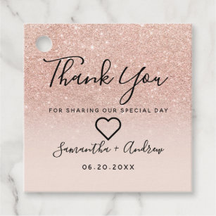 54f6d0eb2e6f Rose gold glitter pink ombre thank you wedding favor tags