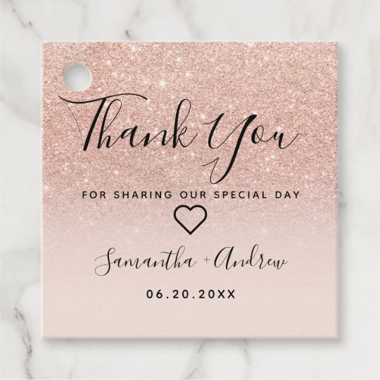 Wedding Thank You Gift Tags: Rose Gold Glitter Pink Ombre Thank You Wedding Favor Tags