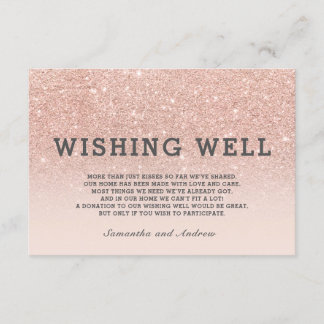 Rose gold glitter pink ombre wishing well wedding enclosure card