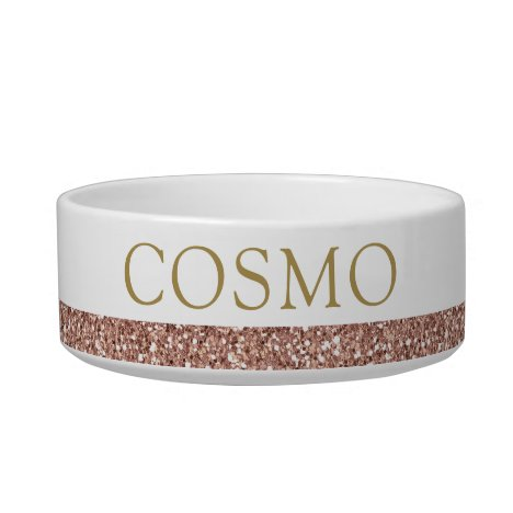 Rose Gold Glitter Pink Sparkle Name Pet Bowl