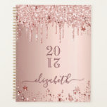 """Rose gold glitter pink stars 2021 modern elegant planner<br><div class=""""desc"""">IN 2021 YOU WILL RECIVE A NOTIFICATION THAT YOU'LL HAVE TO REVIEW NUMER 21 IN RED. THIS IS OK AND YOU DON'T HAVE TO DO ANYTHING. A faux rose gold metallic looking background with elegant faux rose gold and pink glitter drips, paint drip look and stars. Template for a year...</div>"""