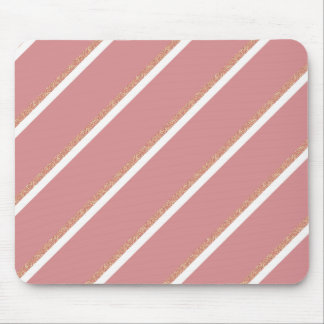 rose gold glitter pink stripes pattern mouse pad