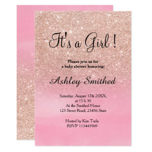 Elegant pink rose baby shower invitations announcements zazzle rose gold glitter pink watercolor girl baby shower invitation filmwisefo