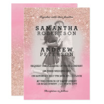 Rose gold glitter pink watercolor photo wedding invitation