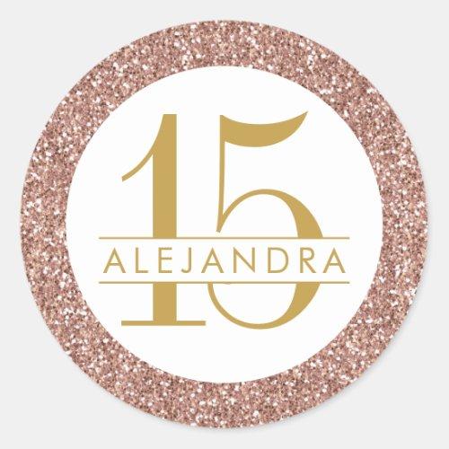 Rose Gold Glitter Quince Aos Favor Sticker Label