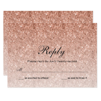 Rose Gold Glitter Reply Card