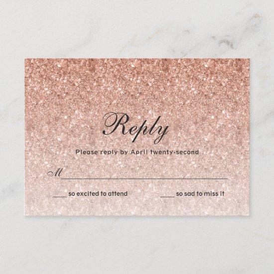 Rose Gold Glitter Reply Card
