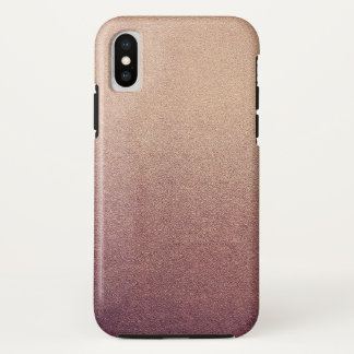 Rose Gold Glitter Sand Visual Texture Ombre Light iPhone X Case