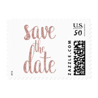 Rose gold glitter save the date stamps