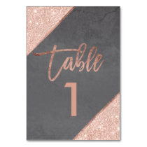 Rose gold glitter script grey cement table number