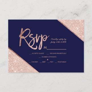 Rose gold glitter script navy blue rsvp wedding 2