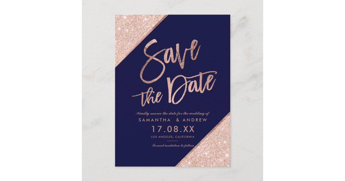 Rose Gold Glitter Script Navy Blue Save The Date