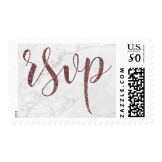 Rose Gold Glitter Script RSVP on Marble Texture Postage