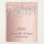 "Rose gold glitter silver appointment book 2021 planner<br><div class=""desc"">IN 2021 YOU WILL RECIVE A NOTIFICATION THAT YOU'LL HAVE TO REVIEW NUMER 21 IN RED. THIS IS OK AND YOU DON'T HAVE TO DO ANYTHING. A faux rose gold metallic looking background with elegant rose gold, pink and faux silver glitter drips, paint dripping look. Template for a year 2021...</div>"
