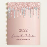 """Rose gold glitter silver appointment book 2022 planner<br><div class=""""desc"""">An elegant rose gold, pink and false silver glitter drips, paint dripping look. Template for a year 2022(or any year). Personalize and add a name and a title. The name is written in dark rose gold with a modern hand lettered style script. Perfect for business, school, diary, work or organizing...</div>"""