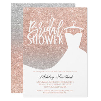 Rose gold glitter silver chic dress Bridal shower Card