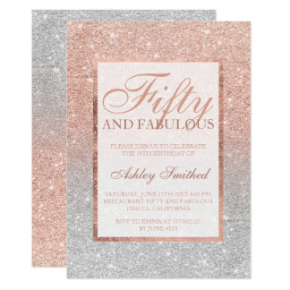 rose gold glitter silver chic fifty fabulous card