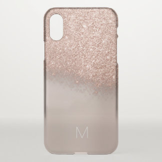 Rose Gold Glitter Skinny  Italian Monogram Lux iPhone X Case