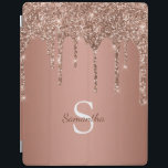"Rose Gold Glitter Sparkle Drip Monogram Name iPad Smart Cover<br><div class=""desc"">Enjoy this elegant design featuring your name and monogram or initial with chic and sparkly rose gold copper glitter drips over a rose gold foil background.</div>"